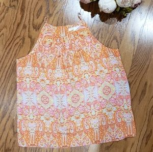 Violet + Claire High Neck Orange Pink Paisley  Top